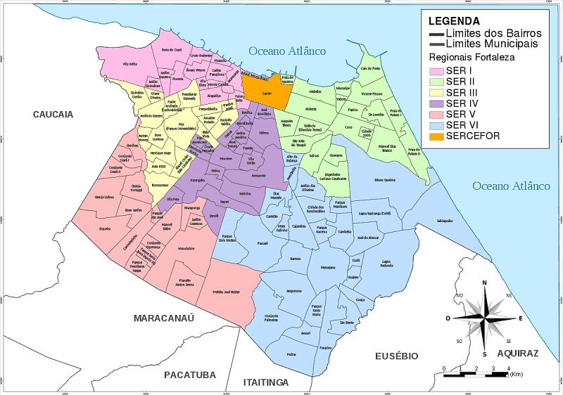 Onde ficar em Fortaleza: Mapa