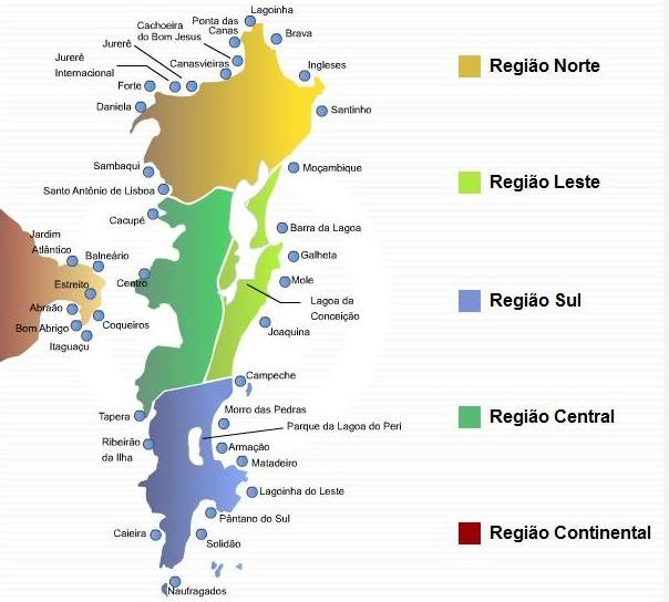 Ficar hospedado em Florianópolis: Regiões