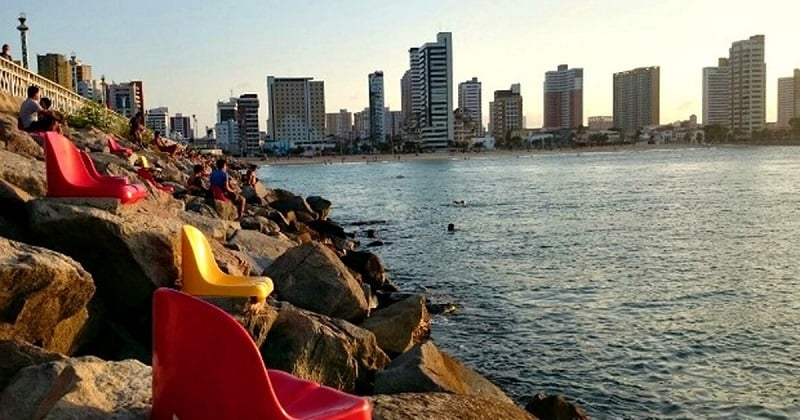 Praia de Iracema em Fortaleza: Pôr do sol
