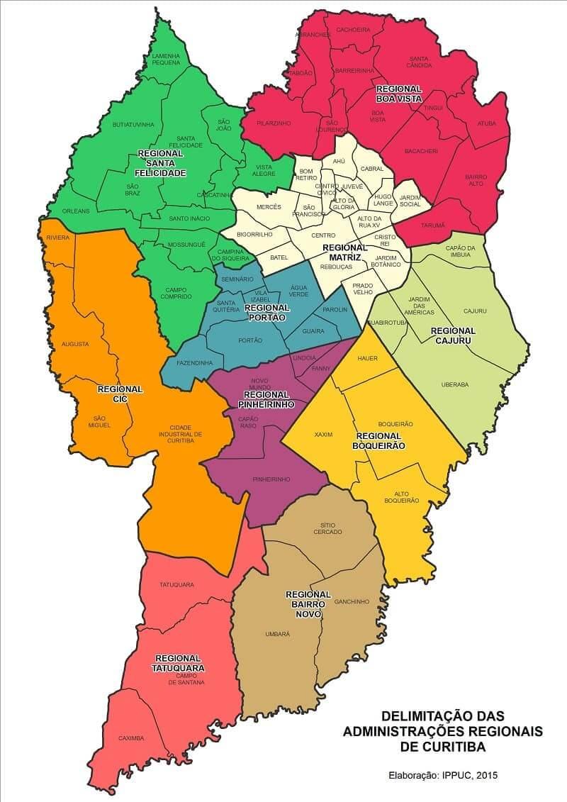 Onde Ficar em Curitiba: Mapa