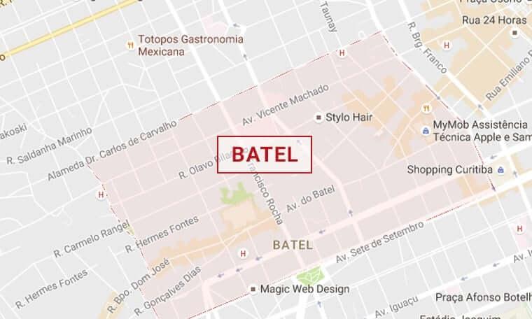 Mapa turístico de Curitiba: Batel