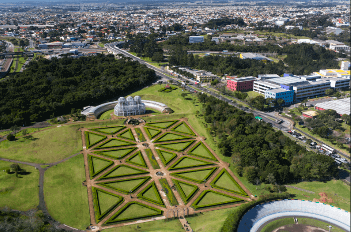 Jardim Botânico em Curitiba: Vista aérea