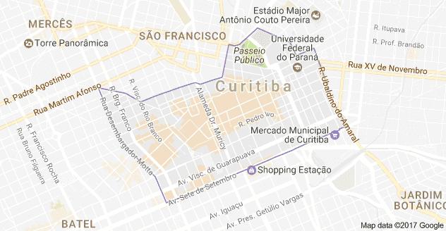 Mapa turístico de Curitiba: Centro