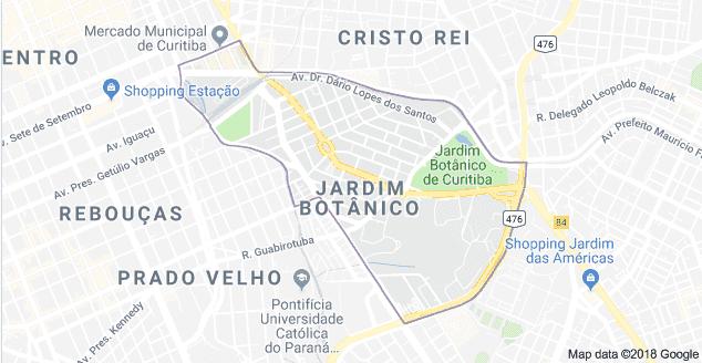 Mapa turístico de Curitiba: Jardim Botânico