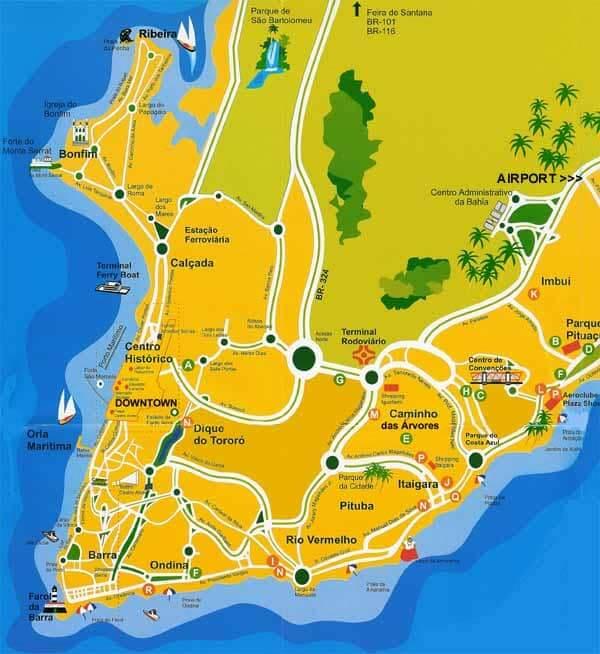 Onde ficar em Salvador: Mapa