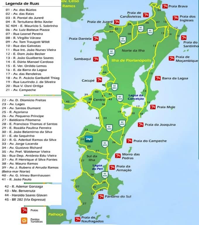 Mapa Turístico de Florianópolis