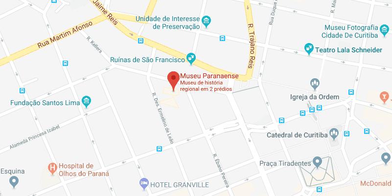 Museu Paranaense em Curitiba: Mapa