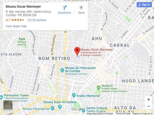 Museu Oscar Niemeyer: Mapa