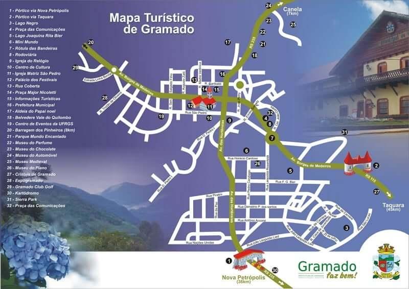 Onde ficar em Gramado: Mapa