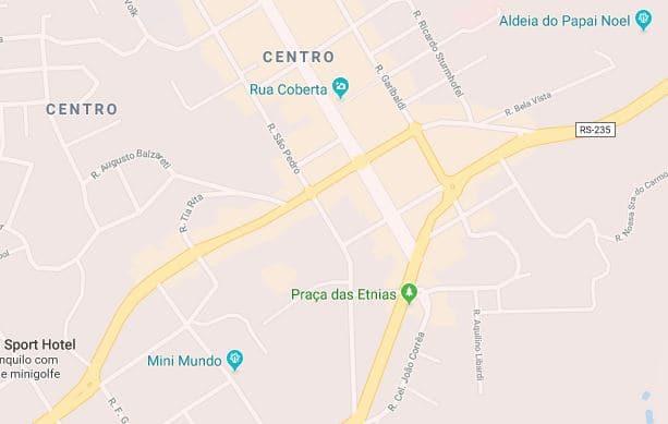 Mapa turístico de Gramado: Centro