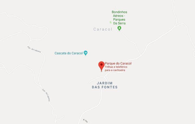 Parque do Caracol nos arredores de Gramado: Mapa